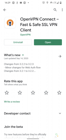 Stažení OpenVPN Android